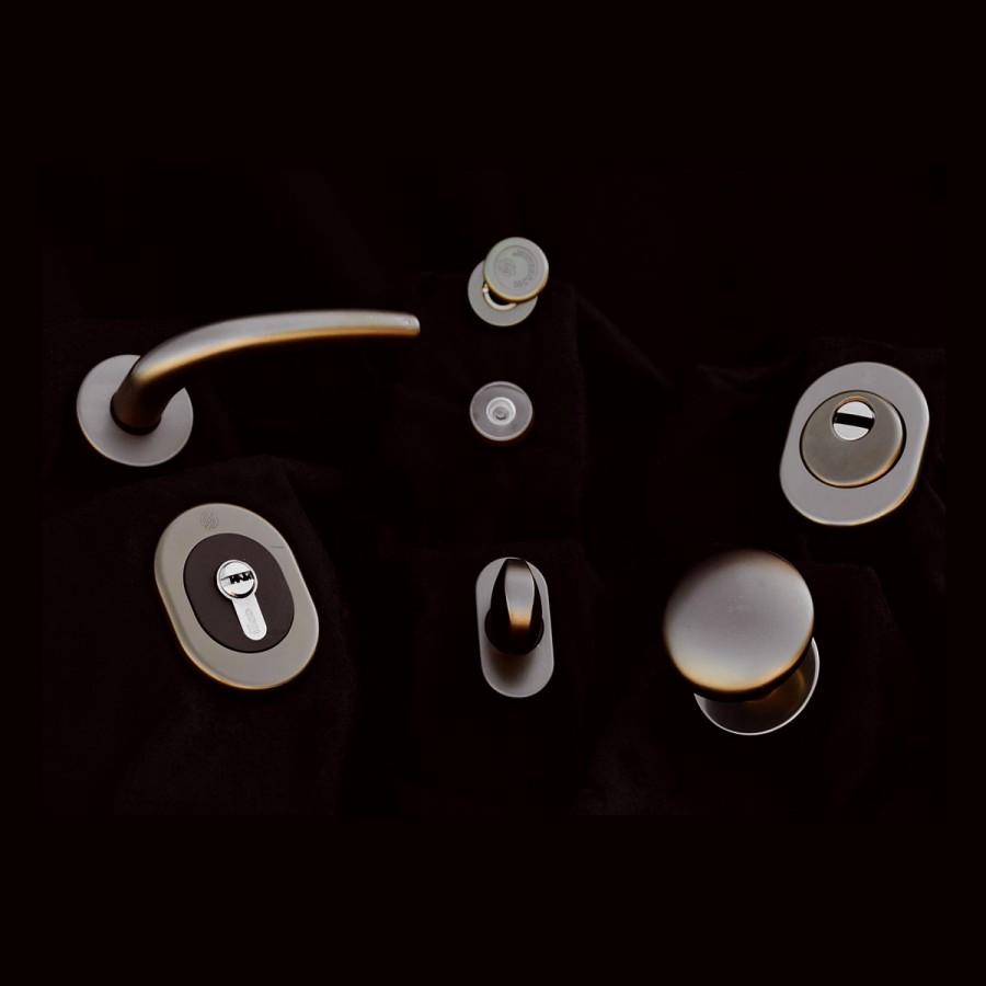 Serie tonda linea alluminio bronzato